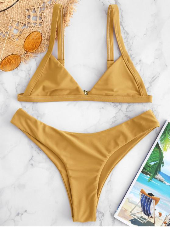 ZAFUL Unlined High Cut Bikini Set - بني ذهبي S