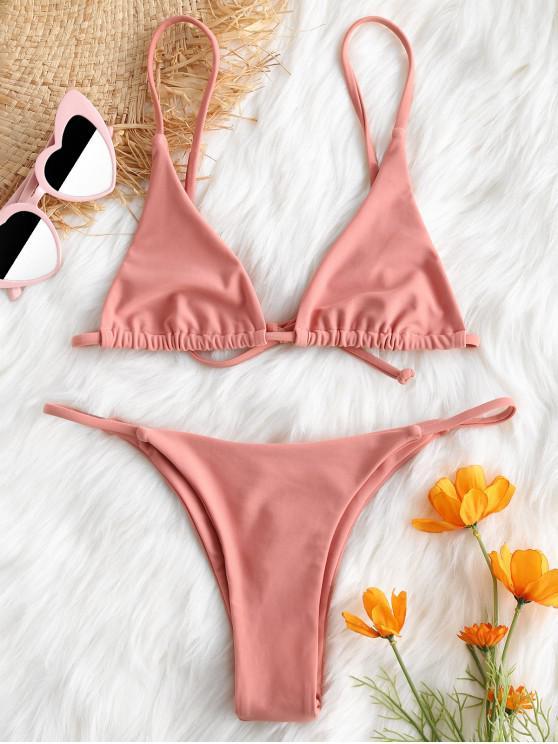 affordable Bralette Thong String Bikini Set - LIGHT PINK M