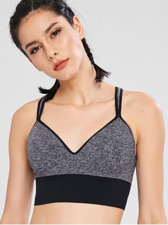 fashion Heather Color Block Gym Bra - DARK GRAY XL