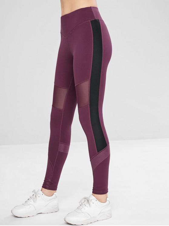 best Color Block Mesh Insert Hidden Pocket Leggings - PALE VIOLET RED XL