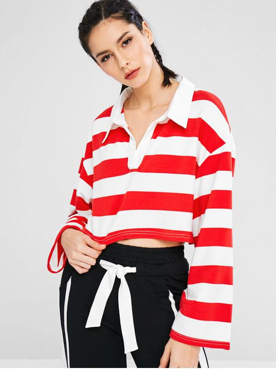 womens Athletic Striped Drop Shoulder Sweatshirt - RED M