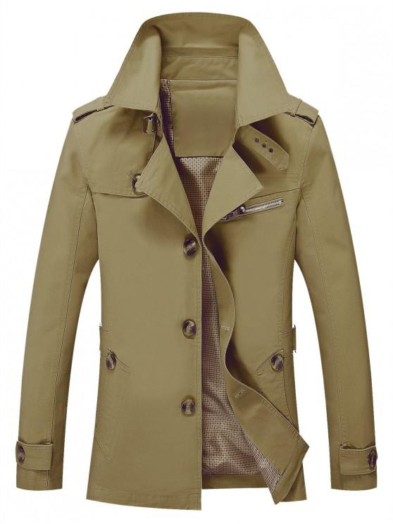 women's Solid Button Up Jacket - DARK KHAKI XS