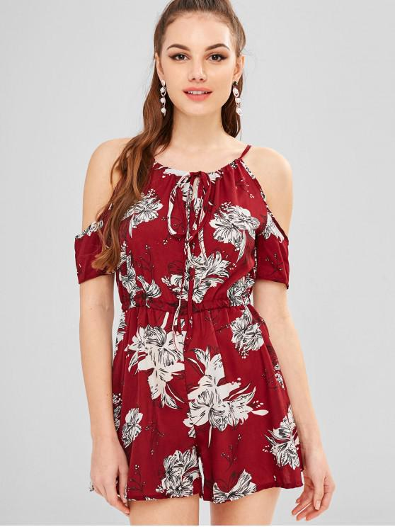 ae1b4b1124b 16% OFF  2019 Flower Print Cold Shoulder Romper In RED WINE