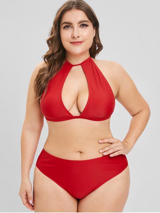 new ZAFUL Cutout Plus Size Halter Bikini Set - LAVA RED L