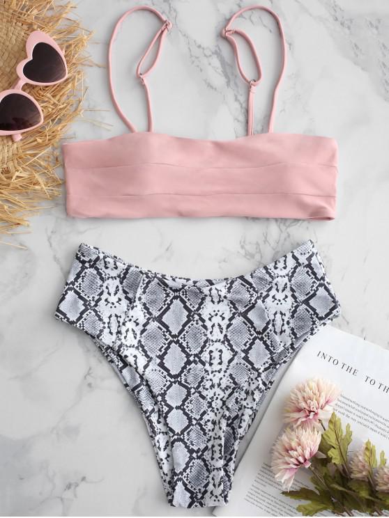 Hochgeschnittenes Schlangeshautmuster- Bikini-Badebekleidung - Schwein Rosa S