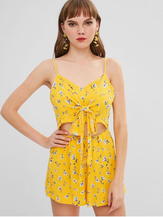 492783e43abc 29% OFF  2019 Floral Print Tie Front Cutout Cami Romper In YELLOW ...