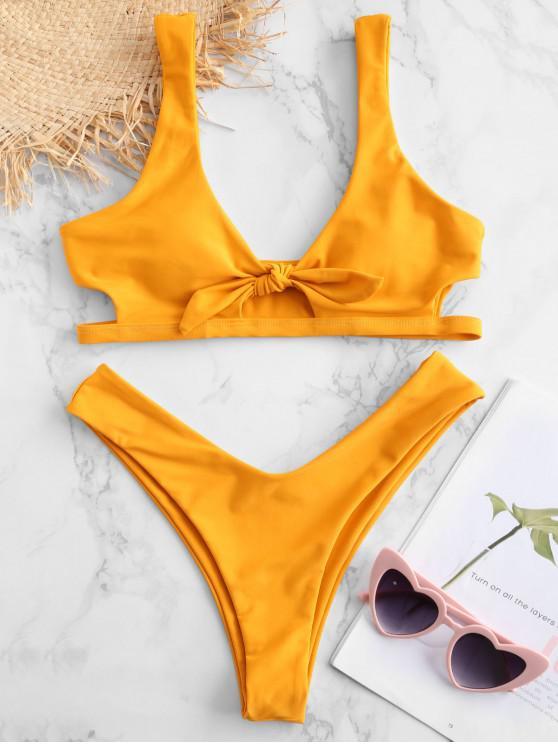 ZAFUL Bikini Atado con Ojo de Cerradura - Amarillo Brillante S