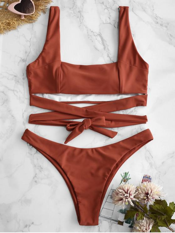 fashion ZAFUL Tie High Cut Tank Bikini Set - CHERRY RED S