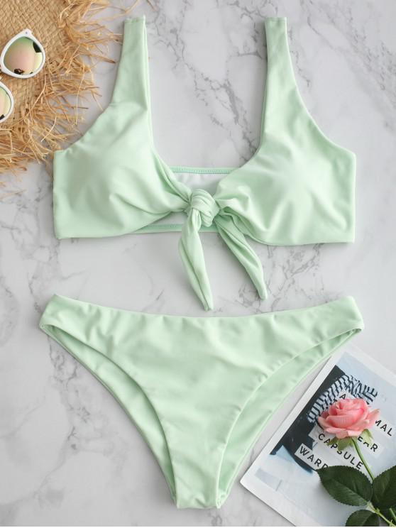 ladies ZAFUL Plunge Front Knot Bikini Set - LIGHT CYAN L