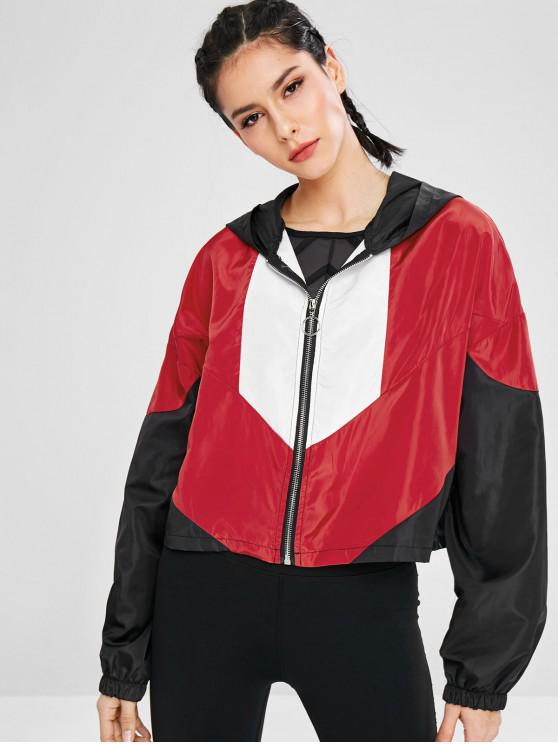 latest Color Block Hooded Athletic Jacket - MULTI S
