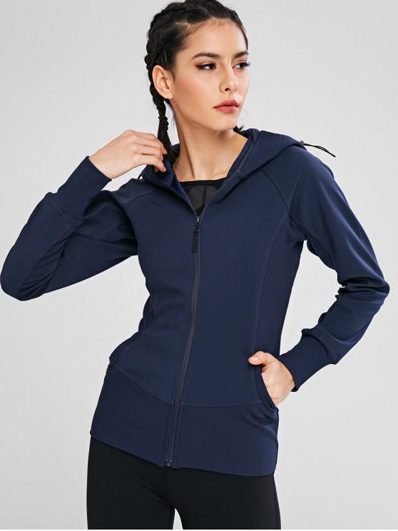sale Zipper Hooded Pocket Jacket - CADETBLUE M