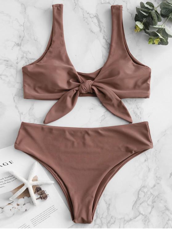 unique ZAFUL Tie Front Padded Bikini Set - ROSY BROWN L