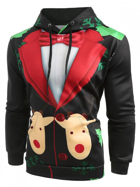 fashion Christmas Faux Suit Print Pullover Hoodie - BLACK 2XL