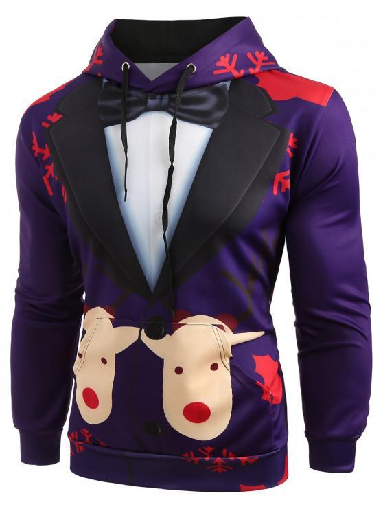 sale Christmas Faux Suit Print Pullover Hoodie - PURPLE 3XL