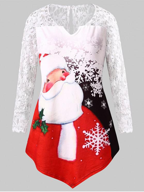 outfit Plus Size Santa Claus Print Lace Insert Tee - WHITE L