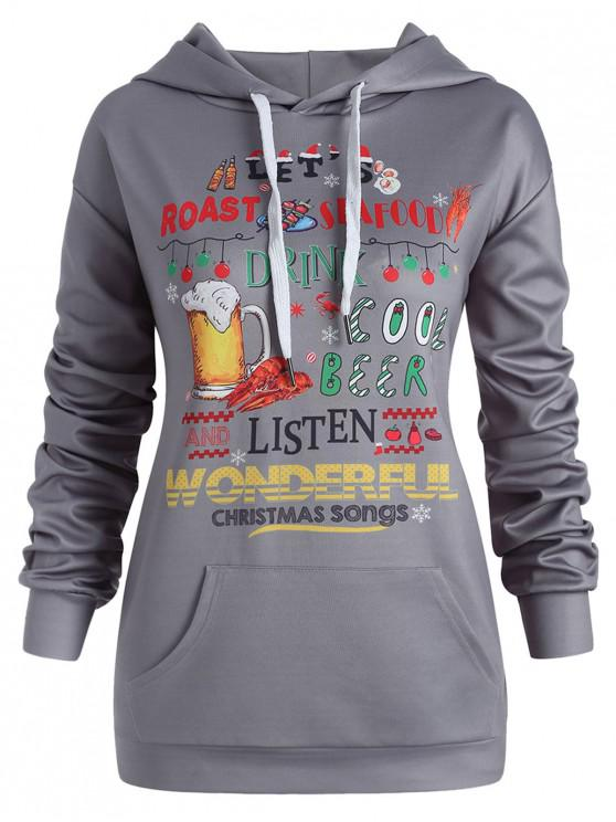 Plus Size Christmas Letters Pullover Hoodie - Gri închis 5X