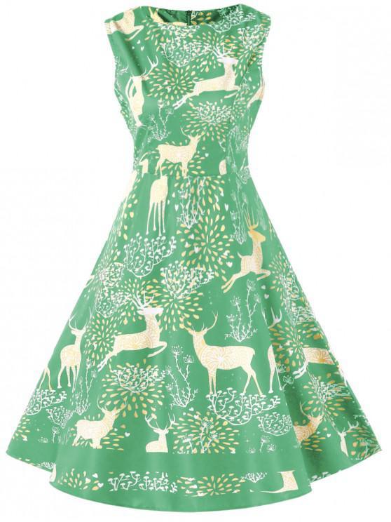 shop Christmas Elk Print High Waist Swing Dress - AQUAMARINE XL