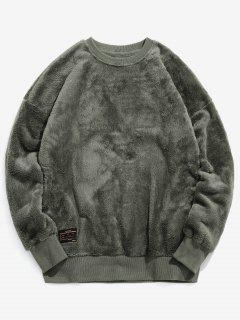 ZAFUL Solid Crew Neck Fluffy Sweatshirt - Army Green L