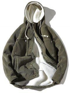 Vintage Corduroy Fluffy Lined Jacket - Army Green 2xl