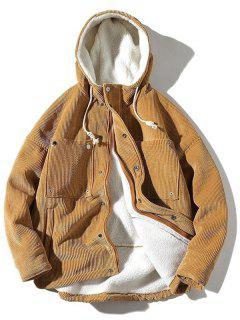 Vintage Corduroy Fluffy Lined Jacket - Khaki L