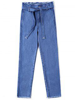 High Waist Frayed Hem Belted Jeans - Denim Blue S