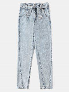 Zipper Fly Pockets Belted Jeans - Blue Gray M