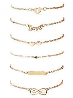 6Pcs Round Shape And Bowknot Pattern Bracelets Set - Gold