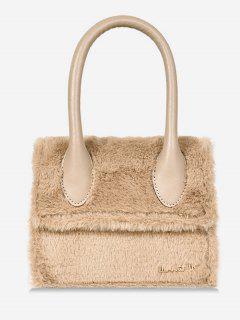 Fluffy Leather Letter Pattern Tote Bag - Light Khaki