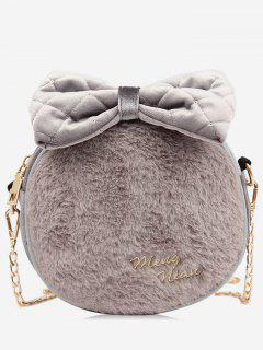 Plush Bowknot Printed Crossbody Bag - Ash Gray