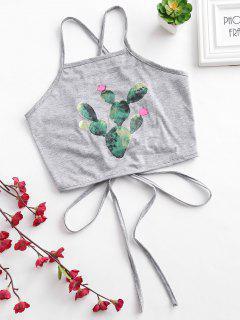 Top Corto Con Estampado De Camuflaje Y Gráfico De Cactus - Gris Claro M