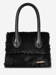 Fluffy Leather Letter Pattern Tote Bag - Black