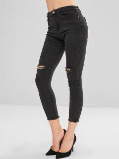 Distressed Frayed Hem Skinny Jeans - Black L