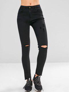 Skinny Frayed Hem Ripped Jeans - Black L