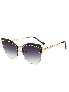 Unique Rivets Inlaid Rimless Catty Sunglasses - Gray
