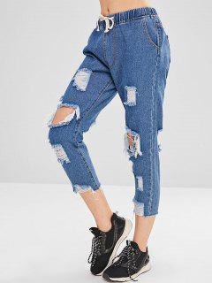 Distressed Drawstring Boyfriend Jeans - Jeans Blue S