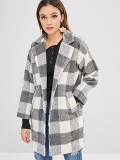 One Button Plaid Wool Blend Coat - Multi L