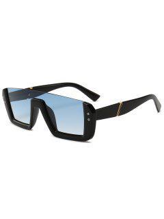 Retro Half Thick Frame Novelty Sunglasses - Light Sky Blue