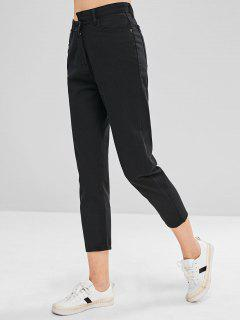 Asymmetrical Waist Straight Jeans - Black S