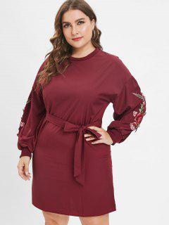 Mini Plus Size - Besticktes Kleid Mit Gürtel - Roter Wein 2x