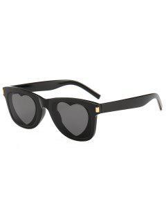 Heart Lens Plastic Frame Sunglasses - Black