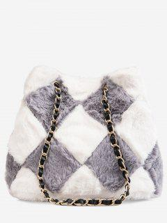 Color Block Design Link Chain Crossbody Bag - Battleship Gray