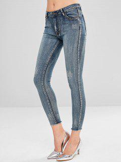 Raw Hem Frayed Skinny Jeans - Multi S