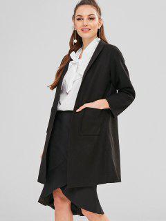 Longline Open Front Pockets Coat - Black