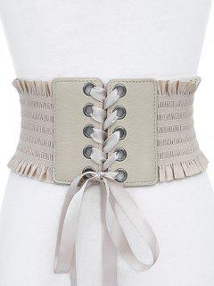 Stylish Bowknot Fringed Wide Belt - Crystal Cream