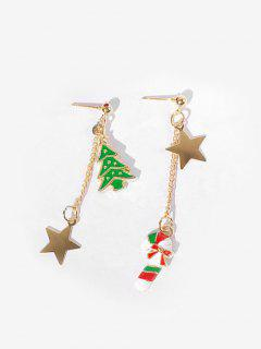 Asymmetric Christmas Star And Cane Earrings - Red