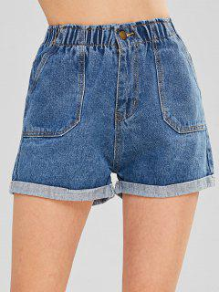 Front Pockets Cuffed Jean Shorts - Denim Blue M