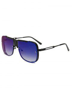 Stylish Hollow Out Frame Oversized Sunglasses - Deep Blue