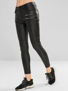 Zippered Faux Leather Pants - Black M