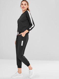 Raglan Sleeve Sweatshirt Joggers Pants Sweat Suit - Black 2xl