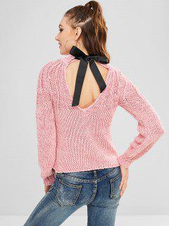 Heathered Chunky Bow Tie Sweater - Light Pink L